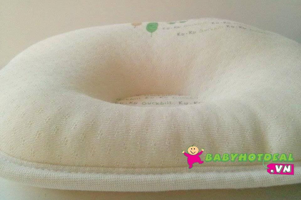 Gối hỗ trợ đầu cho bé sơ sinh KUKU vải Organic KU2052 (gối lỏm 23x28cm)
