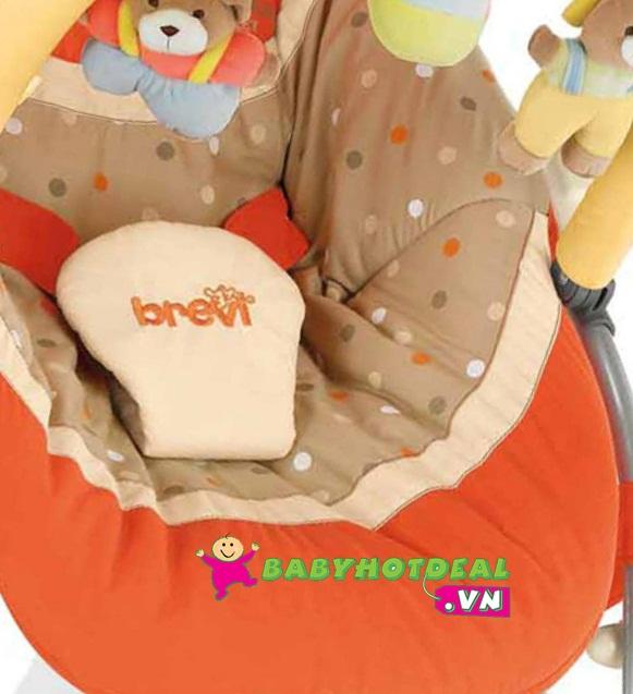Ghế bập bênh Brevi có đồ chơi và mái che Brevi BRE558C