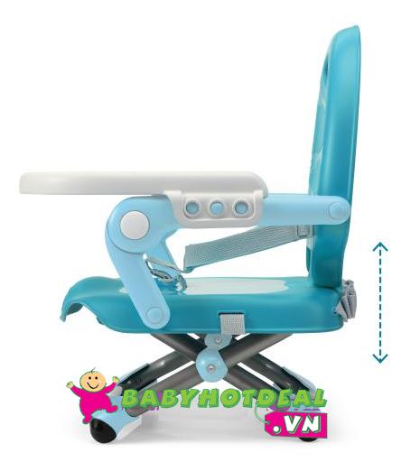Ghế ăn bột điều chỉnh độ cao Chicco Pocket màu xanh biển