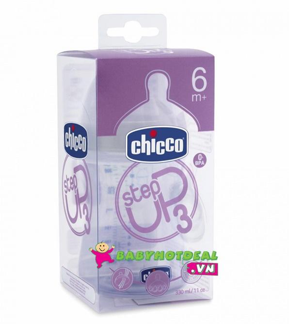 Bình sữa Chicco mô phỏng tự nhiên cho bé 6 tháng trở lên 330ml