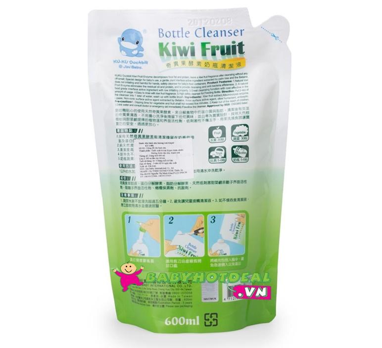 Nước rửa bình sữa KUKU bằng trái Kiwi KU1081 (túi 600ml)