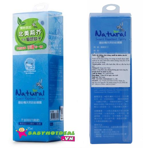 Nước xịt chống côn trùng và muỗi tự nhiên KUKU cho bé KU1085